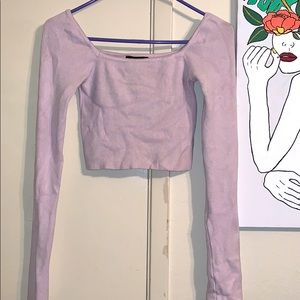 Long Sleeve Lavender Crop top
